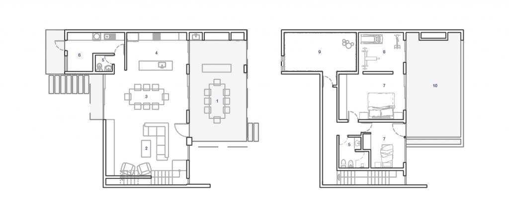 plano casa quincho estandarq arquitectura
